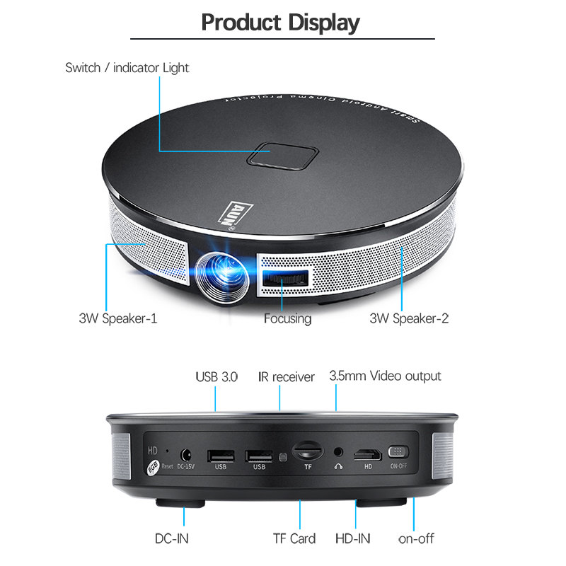 AUN 300 pouces Projecteur, 2G + 16G, 12000 batterie mah, 1280x720 P, d8S Android WIFI. Portable 3D mini projecteur led. soutien 1080 P 4 K - 6