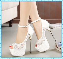 women summer sandals lace pumps women party shoes platform pumps white wedding shoes stiletto heels open toe dress shoes D114