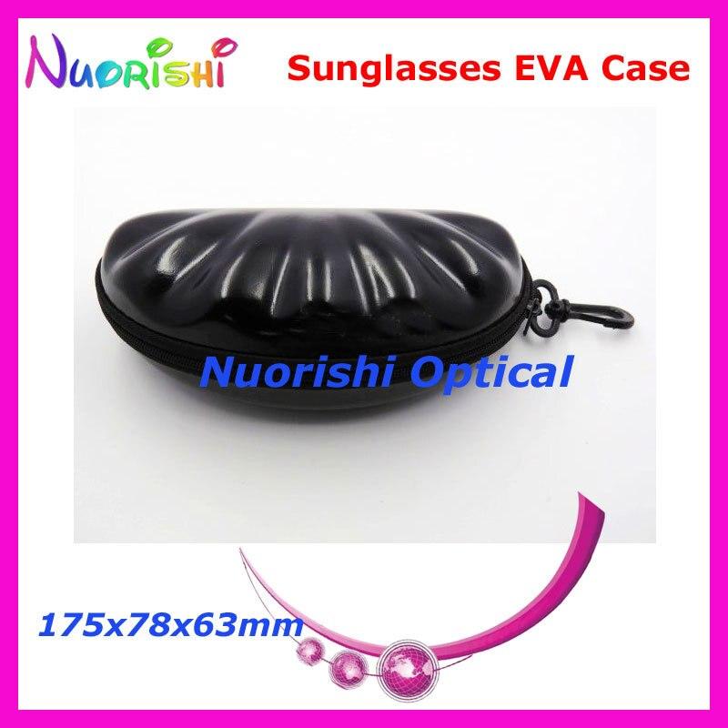20 шт. в форме ракушки большой размер хороший 4 цвета на молнии очки солнцезащитные EVA чехол коробка ML023 - Цвет: Black