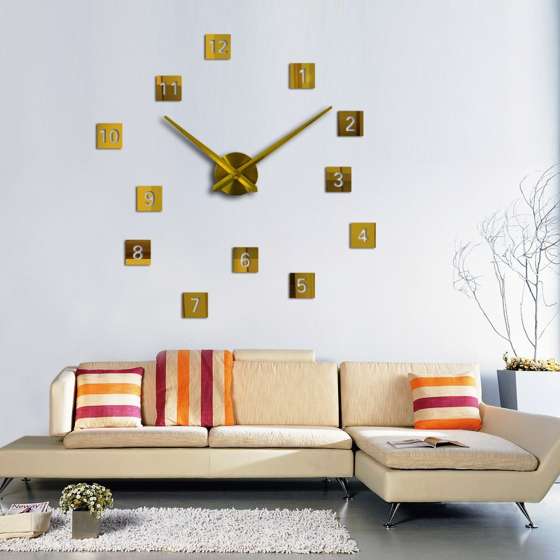 Large DIY Numeral Wall Clock Home Decor 3D Mirrors Acrylic ...