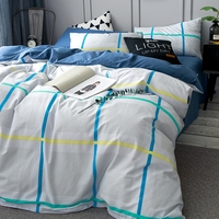 Brief Green And Blue Stripes Duvet Cover Set Queen King Size Bedding Set For Women 100