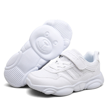 2019 autumn new fashionable net breathable pure white leisure sports running shoes for boys boy brand kids