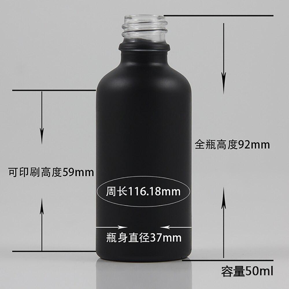 50 pcs 50 ml preto frasco de oleo essencial de vidro fosco sem tampa poderia combinar