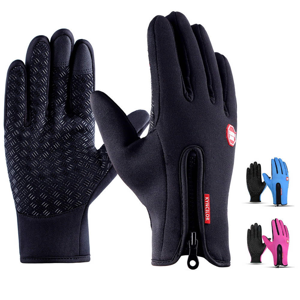Cycling Gloves Women Winter Fietshandschoenen Touch Screen Warmer Anti-slip Bike Bicycle Gloves Waterproof Outdoor Black