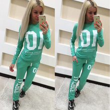 2017 Spring New Women Sportwear Two Pieces Set Letters Printed Suits For Women Tracksuit Casual Women Suits XXL AQ934917