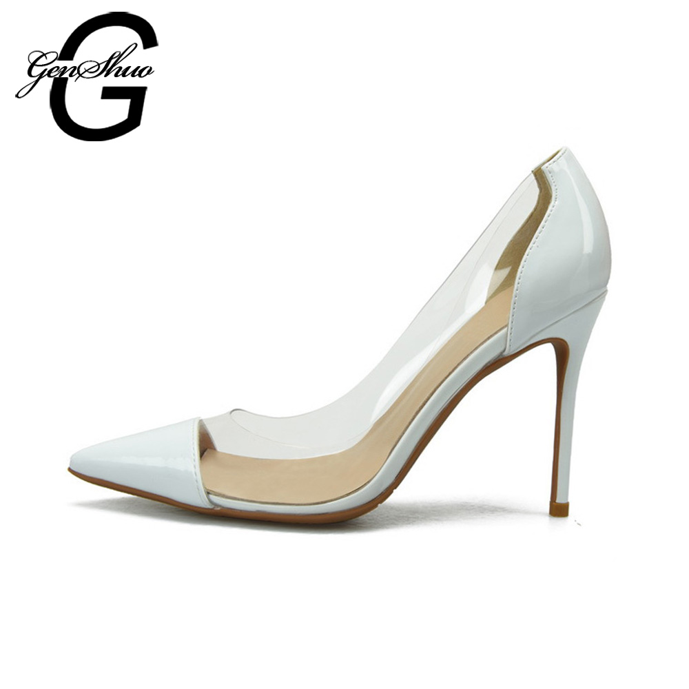 GENSHUO Sexy Women Pumps Pointed Toe High Heels Wedding Shoes Size 4-9.5 Shoes Woman Leather Heels Fashion Shoes Female PumpsGENSHUO Sexy Women Pumps Pointed Toe High Heels Wedding Shoes Size 4-9.5 Shoes Woman Leather Heels Fashion Shoes Female Pumps