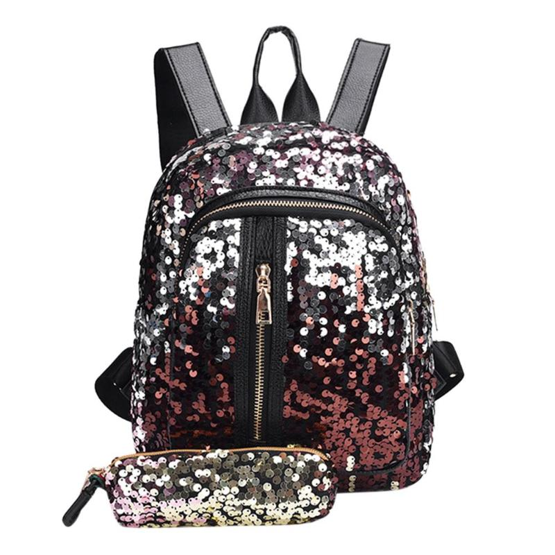 2pcs/set New Teenage Bling Glitter Sequins Backpack Girls Rucksack Students School Bag With Pencil Case Clutch #5