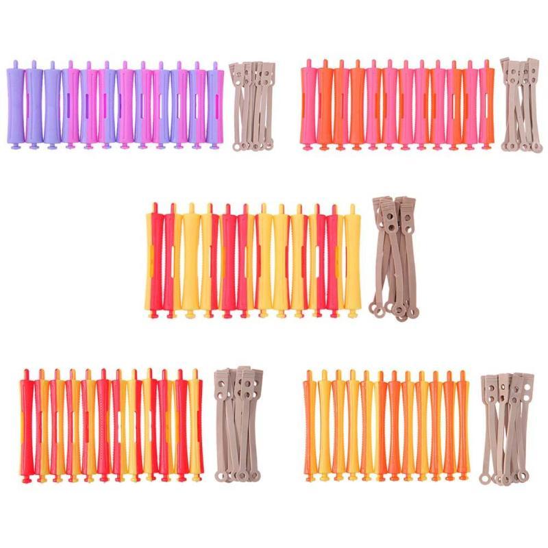 12Pcs/Set DIY Hairdressing Perm Rod Salon Hair Roller Rubber Band Hair Clip Curler Hairdressing Maker Styling Tool Random Color