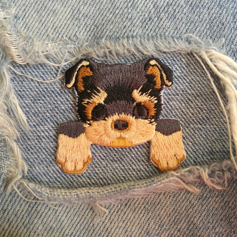 1 PIC 4.0*3.9CM Embroidered Cloth Computer Embroidery Chapter DIY YORKSHIRE TERRIER DOG Dress Decorative Patch Sticker