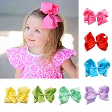 AHB 6 Inch Solid Hair Bows with Clips for Girls Grosgrain Ribbon Bowknot Hairgrips Handmade Party Dance Hairpin Kids Headwear