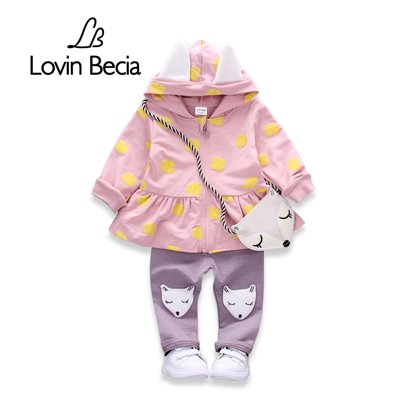 LOVIN BECIA 2pcs/ sets children clothing fashion kids costume Clothes for baby girls cute fox suit gift bag coat set cotton