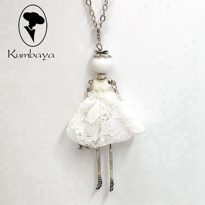 Fashion Women Jewelry White Lace Doll Necklace Cute Lady Female Wholesale Pendant Free Shipping Accessories Statements NS020