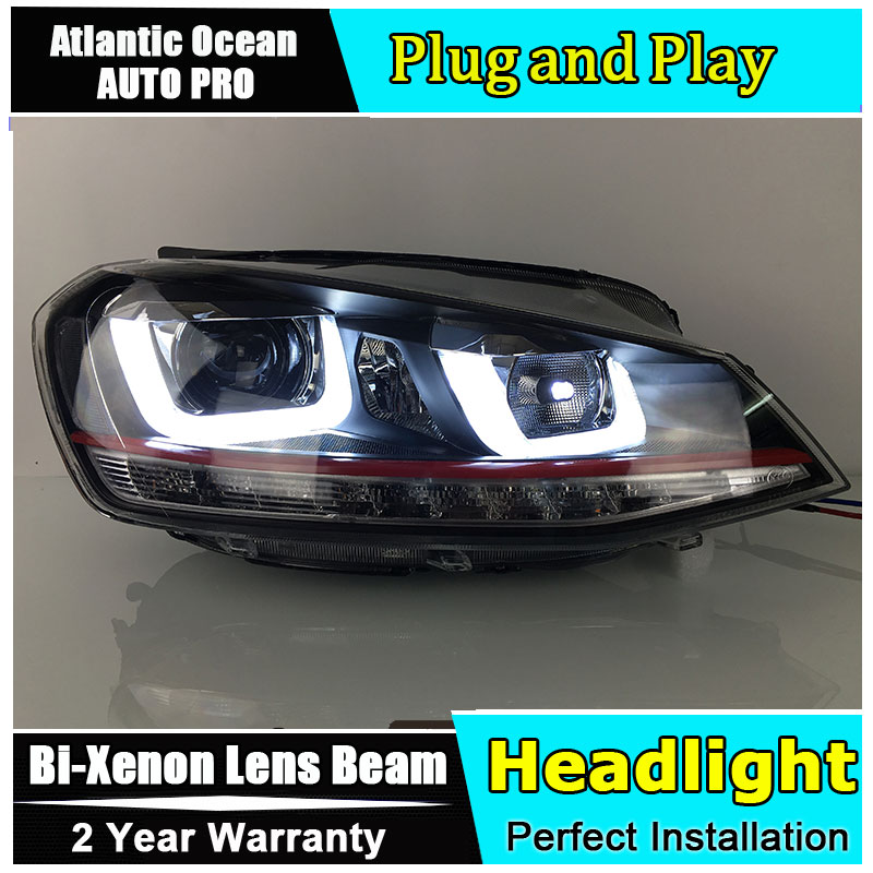 Car Styling For VW Golf 7 headlights 2013-2014 Golf7 led headlight GIT head lamp Angel eyes led drl HID KIT R20 Bi-Xenon Lens car styling for chevrolet trax led headlights for trax head lamp angel eye led front light bi xenon lens xenon hid kit