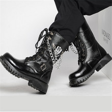 Autumn/Winter Knee-high men's leather shoes male fashion rivet  chain high-leg Punk Outdoor motorcycle Boats Riding martin boots