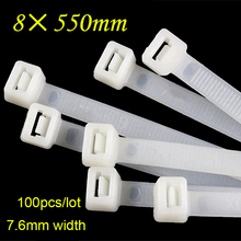 100pcs/lot 8*550mm Wire Fixed Ribbon Buckle Network Plastic Cable Organiser reusable Zip Tie Cord Strap Label Bring