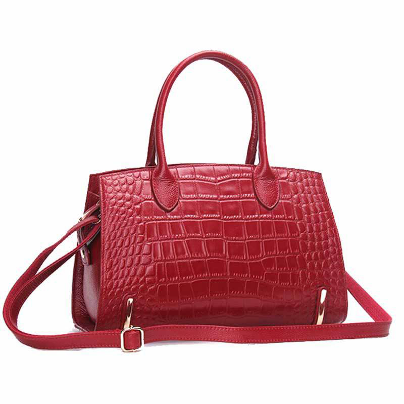 Women's Bag Genuine Leather Handbag Alligator High Quality Zipper Design Black Red Lady Office Bags