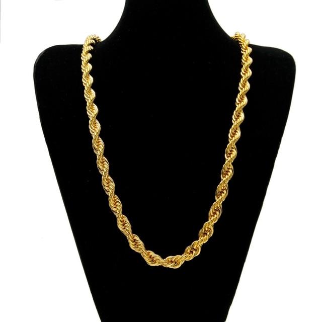 e93af7c70aad Hip Hop cuerda gruesa cadena amarillo oro relleno mujeres hombres collar  nudo cadena 24 pulgadas
