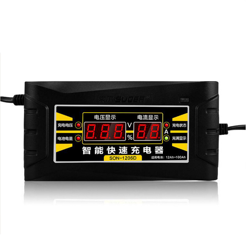 Full Automatic Car Battery Charger 110V/220V To 12V 6A Smart Fast Power Charging For Wet Dry Lead Acid Digital LCD Display