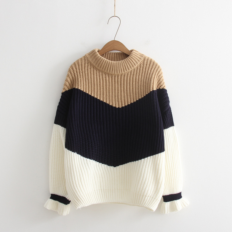 Color matching knit sweater 2018 Korean casual joint loose color matching pullover ladies winter Tops sweaters 4 colors
