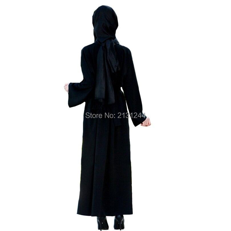 Muslim Women Elegant Black Hooded Abaya Dress Embroidery Flower Maxi