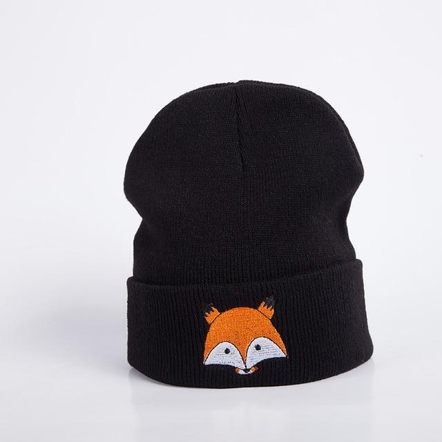 af1348d4880 New Autumn Winter Men Women Hat Fashion trend Korean version fox embroidery  wool knitted hat Women Skullies beanies accessory