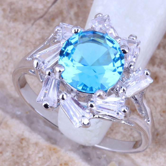 Jewelry & Accessories Tantalizing Sky Blue Fire Opal White 925 Sterling Silver Jewelry Us# Size 6 7 8 9 Sf1190 100% Guarantee