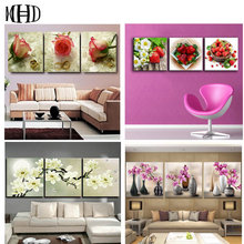 Multicolor 5d diy diamond painting triptych flower picture crystal decoration embroidery flowers cross stitch 1 set 3