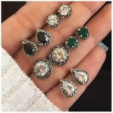 KISSWIFE 5 Pairs/Set Water Drop Green White Crystal Stud Earrings for Women Boho Jewelry Dazzling Cubic Zirconia Earrings
