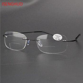 ce5460db82 Gafas de lectura de titanio bifocales de diseño sin tornillo ISENGHUO  Alemania para hombre gafas presbiópicas para hombre gafas diópticas 1,0-3,0