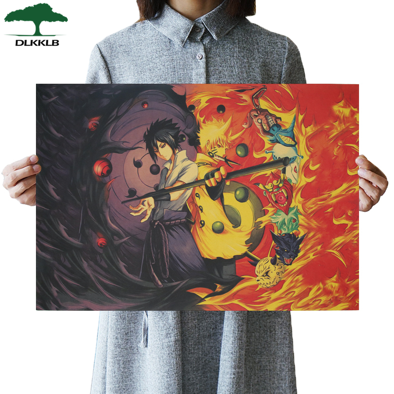 DLKKLB Naruto Classic Japanese Cartoon Comic Poster Kraft Paper Bar Retro Poster Decorative Painting Vintage Wall Stickers
