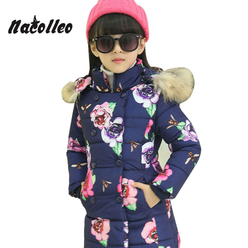 Winter Coat Printed Long Sleeve Cotton Padded Flower Large Fur Collar Hooded Thickening Warm Coats Outfits Kids Girl Coat high collar long sleeve printed dress