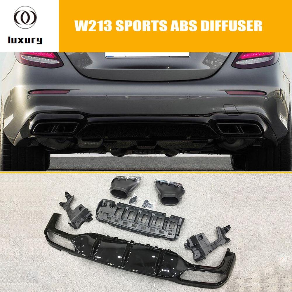 E63 estilo brillante ABS parachoques trasero difusor con puntas de escape de acero inoxidable para Benz W213 E200 E260 E300 E43 con AMG paquete (sin E63)