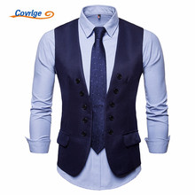 цена Covrlge New Classic Suit Vest Men Slim Fit Double Breasted Vest Waistcoat Mens Business Wedding Tuxedo Vest Gilet Homme MWX030 онлайн в 2017 году