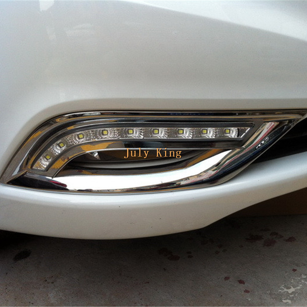 LED Daytime Running Lights DRL with Plating Fog Lamp Cover Case for Hyundai 8th Sonata 2011~14, fast shipping