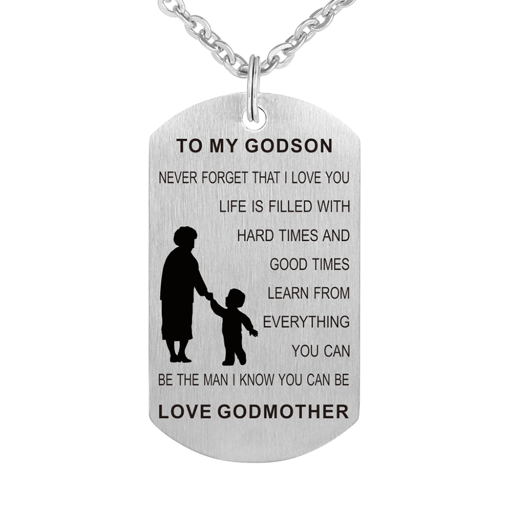 Stainless Steel Birthday Gift From Godmother Godson Necklace Jewelry Pendant