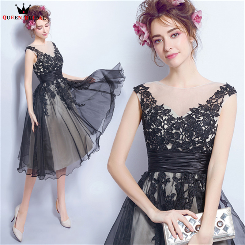 Tea Length A-line V-neck Lace Tulle Short Black Elegant   Evening     Dresses   Prom Party   Dress     Evening   Gowns Robe De Soiree NT46