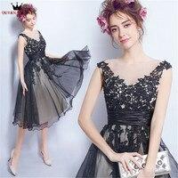 Tea Length A line V neck Lace Tulle Short Black Elegant Evening Dresses Prom Party Dress Evening Gowns Robe De Soiree NT46