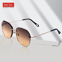 Red Son 2019 Fashion New Brand Designer Sunglasses Women Polarized Mirror Metal Frame alloy Golden leg UV400 Glasses For Women stylish golden alloy leg matte black frame sunglasses for women