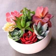 Искусственные зеленые, фиолетовые, красные, синие суккулентные растения для дома и сада, свадебные украшения, мини настольные бонсай, сделай сам, Плант, искусственные растения