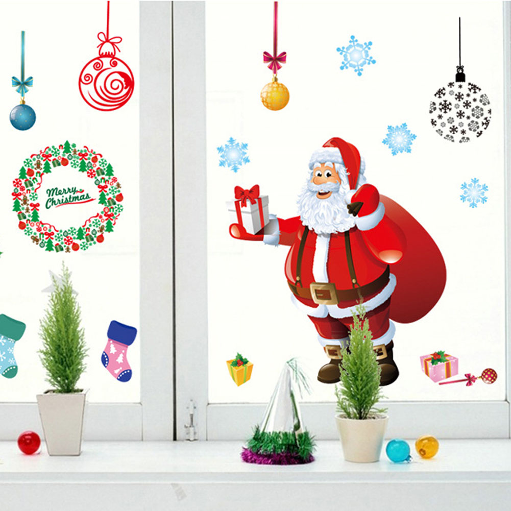 Cristmas Tree Wall Stickers Creative Available Hot Sale Newest Practical Santa Claus