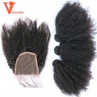 Монгольские афро кудрявые вьющиеся волосы плетение 3 натуральные волосы пучки с закрытием 4 шт. пучки с закрытием кружева с пучками Virgin Venee
