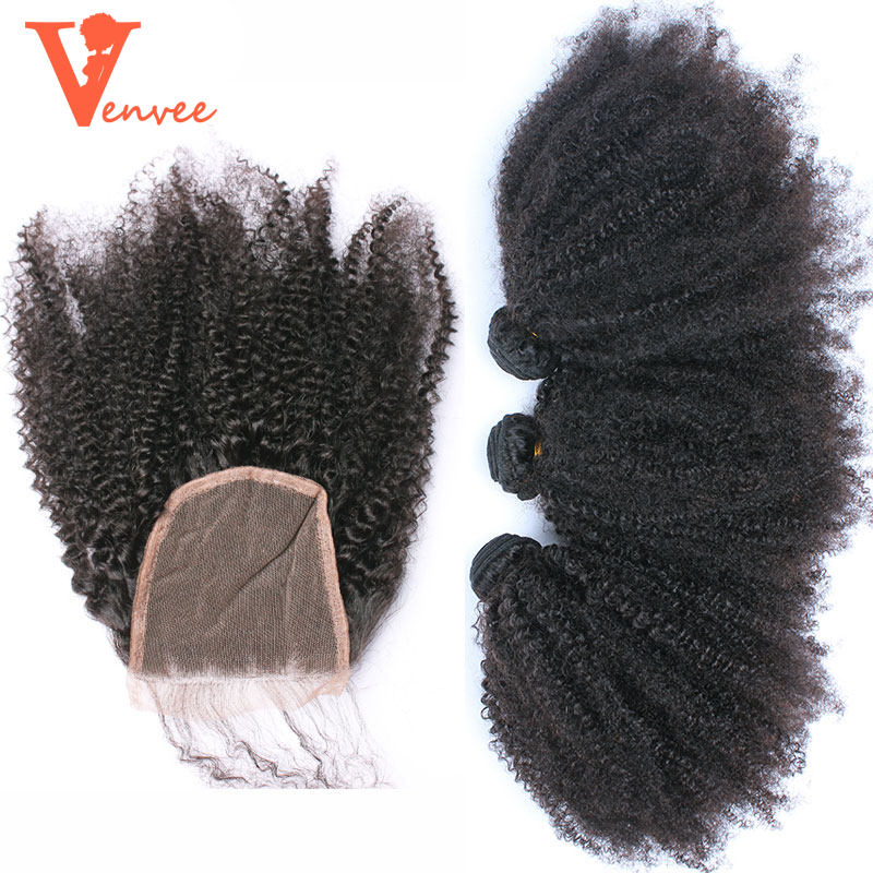 Монгольский афро кудрявый вьющиеся волосы ткань 3 человеческих волос Связки с закрытием 4 шт. Связки с закрытием кружева с связки (bundle) натур