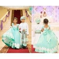 Nuevo verde blanco Encaje Flower Girl vestido de boda puffy pequeña princesa Primera Comunión vestido de encargo del envío libre