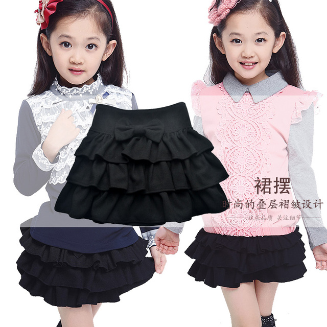 2015 Wholesale New Girls Skirts European Style Girls Tutu Skirts Baby Pleated All-match Skirt For 4-12Y Lovely Christmas Gift