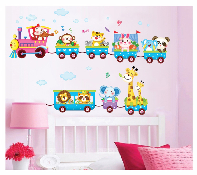 Aliexpress.com : Buy Happy Animals Train Wall Stickers Kids Home Nursery  Bedroom Party Deer Panda Wallpaper Decals Adhesive And Removal From  Reliable Animal ... Part 58