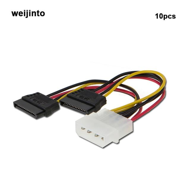 10 Pcs Wholesale 2 Port SATA Splitter Power Cable X 15 Pin IDE To Sata