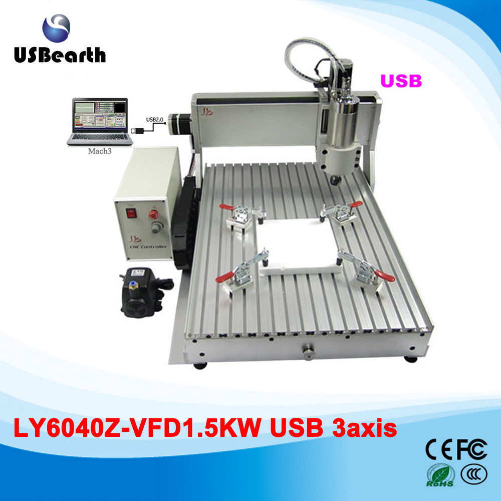 CNC 6040 1.5KW 3 Axis cnc engraver engraving machine with USB interface for metal wood cutting cnc router wood milling machine cnc 3040z vfd800w 3axis usb for wood working with ball screw