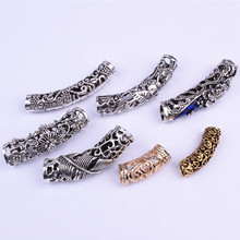 Qp hair Mix Silver Golden Plated Hair Braid Dread Dreadlock Beads Adjustable Cuff Clip 8mm Clip Metal Tube Lock F