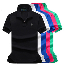 High quality 100% cotton summer brand mens short sleeve tops casual polos shirts small peacock Polos P15
