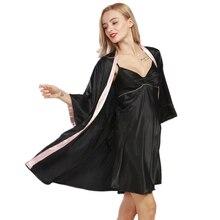 Ladies Silk Robe Femme 2017 New Designer Silky Women Sexy Bathrobe Dressing Gown 2 Pcs Set